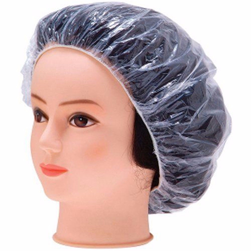 1PCS Elastic Clear Bathing Hair Care Protector Hat Disposable Shower Cap - Transparent