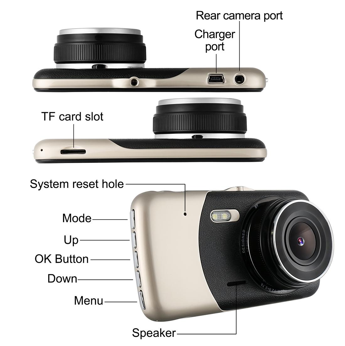 4inch Car Dash Dashboard Video Dual Lens Camera 1080p HD DVR IPS Recorder