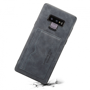 Ultra-Thin Vintage PU Leather Back Cover Card Slot Wallet Flip Stand Case for Samsung Note 9 - Grey