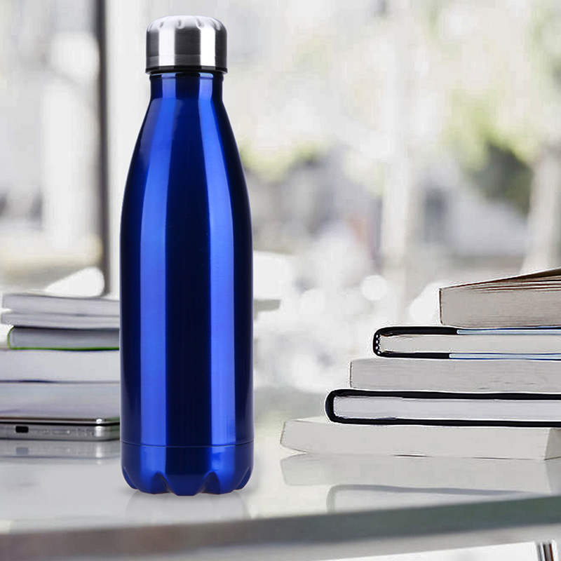 500ML Stainless Thermos Cola Shaped Double Wall Vacuum Water Bottle Flask - Glossy Blue