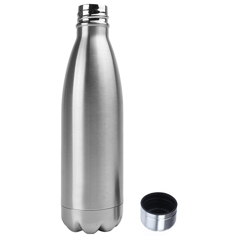 500ML Stainless Thermos Cola Shaped Double Wall Vacuum Water Bottle Flask - Glossy Silver