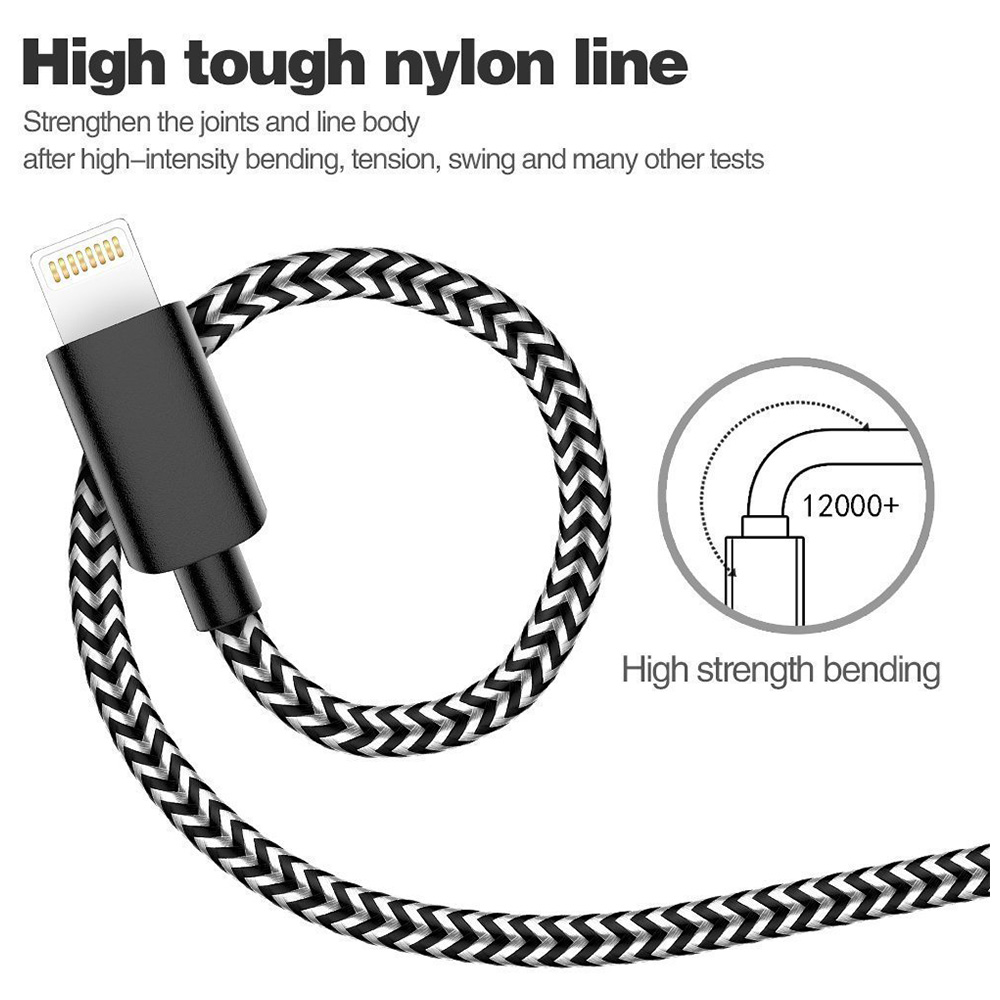 3M Braided Lightning 8 Pin Charge Cable Portable Data Sync Charging Cord Line - Black+Grey
