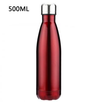 500ML Stainless Thermos Cola Shaped Double Wall Vacuum Water Bottle Flask - Glossy Red