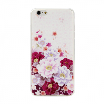 Ultra Slim Soft TPU Back Case Phone Cover Skin for iPhone 6 6S Plus - Peony