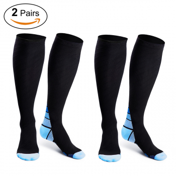 2 Pairs Outdoor Sports Unisex High Compression Socks Legs Sleeve for Running - M