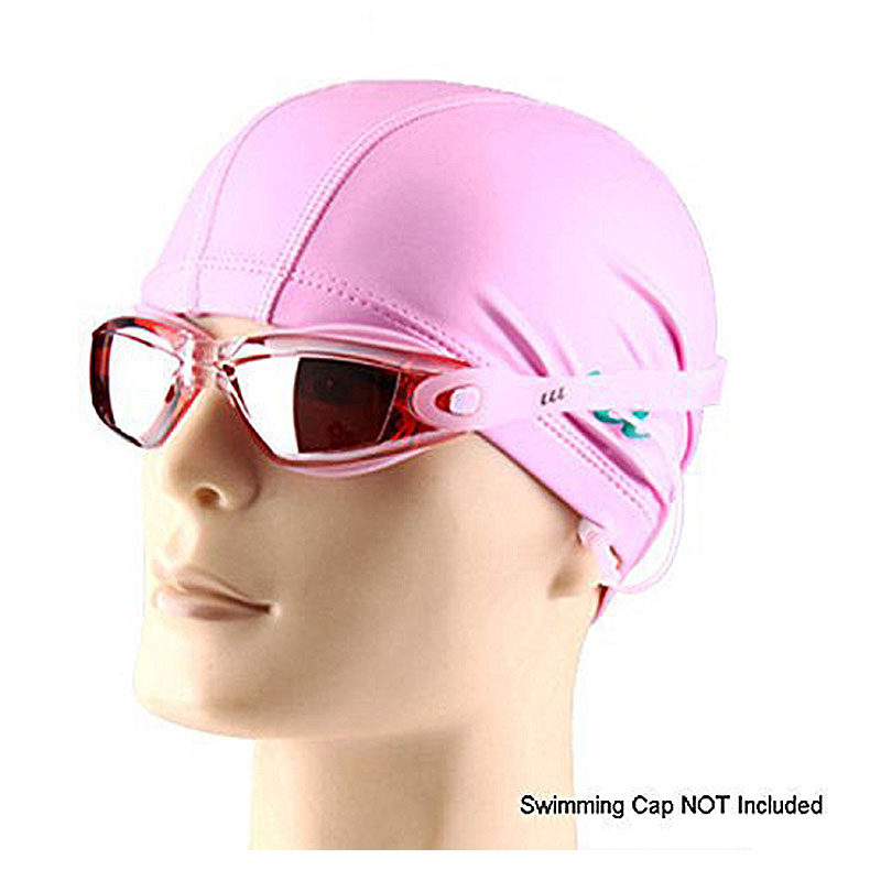 Waterproof Anti-fog Swimming Goggles UV Protected Silicone Swim Glasses with Earplugs for Water Sports - Pink