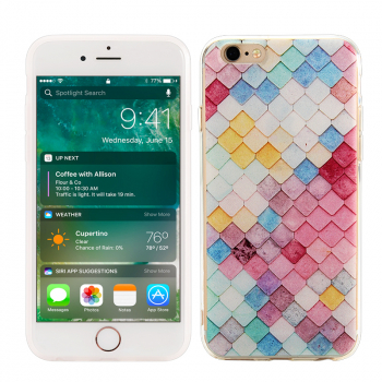 Fashion TPU Soft Protective Cover Phone Case for iPhone 6 / 6S - Grid Pattern