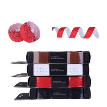 Handlebar Tape Bike Bicycle Road Sports Cork Grip Wrap Ribbon Tape and Bar Plug Handlebar Tape - Red