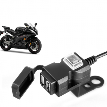 Dual USB Motorcycle Electric Bike Handlebar Charger Socket Switch Double Mounts Waterproof Dual USB Charger