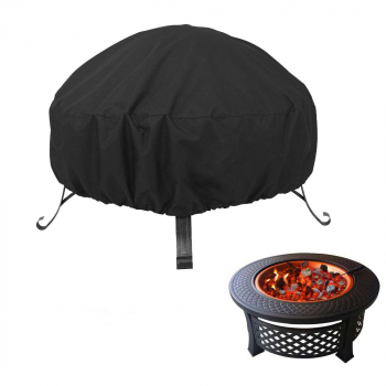 Large Fire Pit Cover Stove Protection Cover Waterproof UV Resistant BBQ Rain Garden Patio Outdoor - 122x46cm