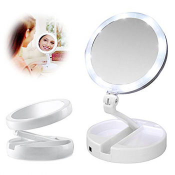 Portable Rotation Folding LED Light Up Double Side Makeup Mirror