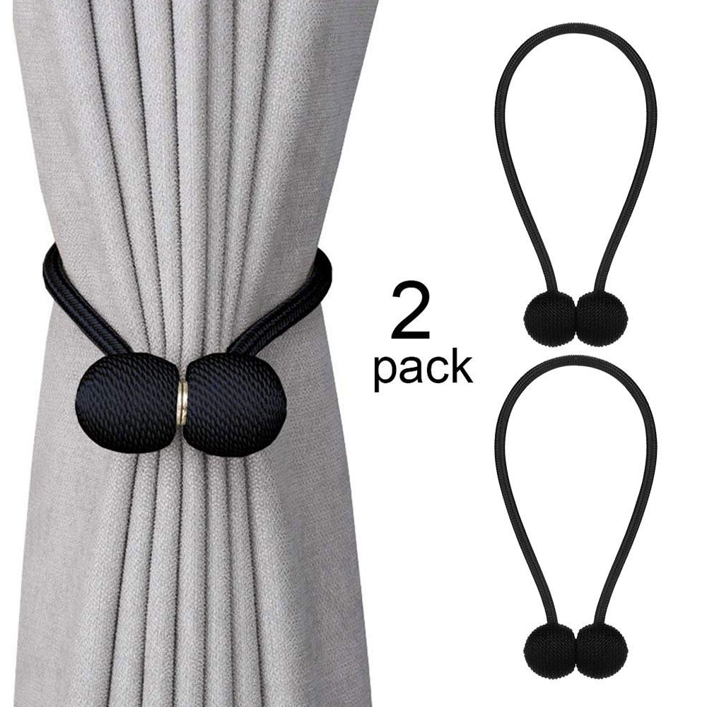 1 Pair Home Curtain Tie Backs Strap Buckle Clip with Magnetic Ball Holdbacks Tiebacks - Black