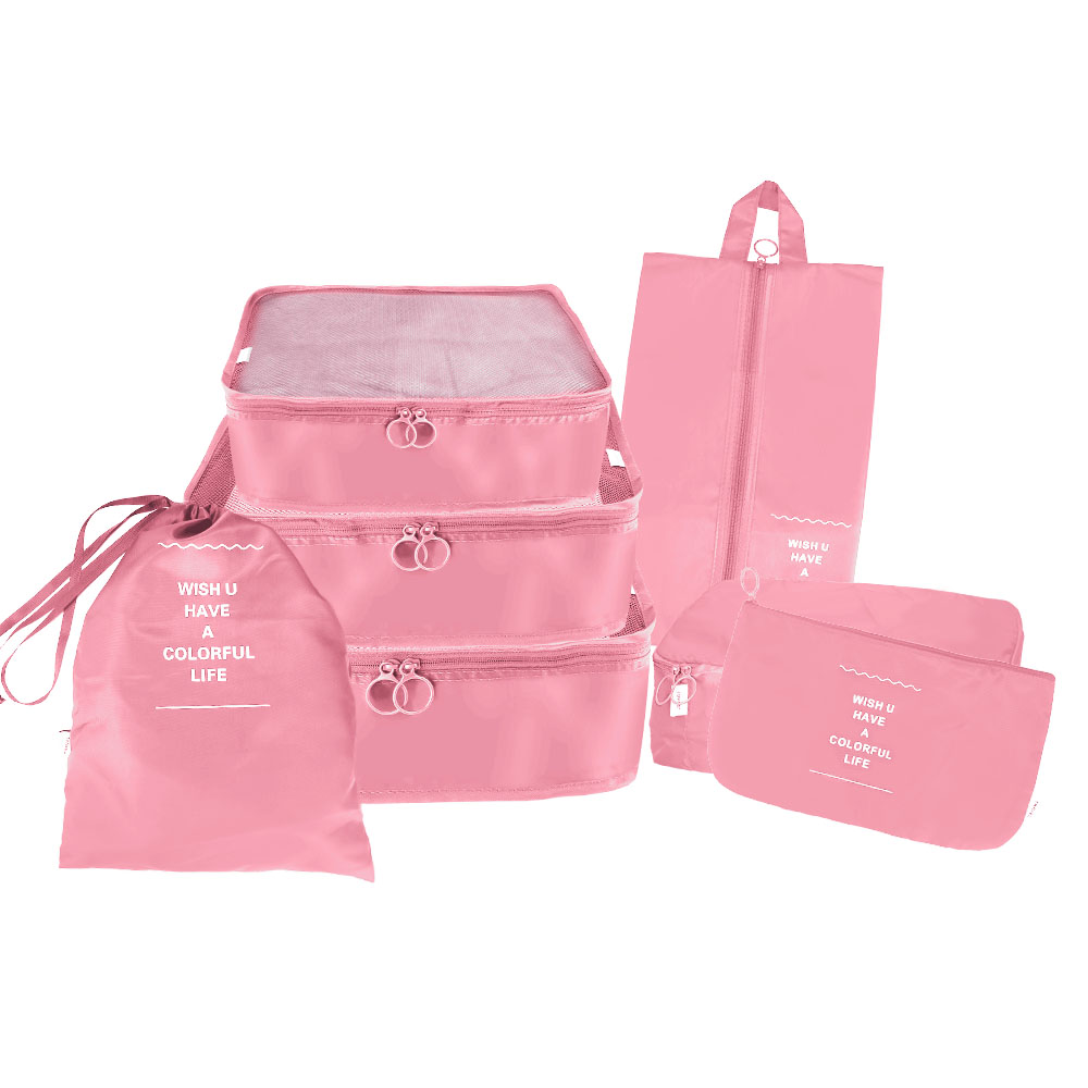 7pcs Waterproof Travel Storage Bags Clothes Packing Cube Luggage Organiser Pouch - Pink