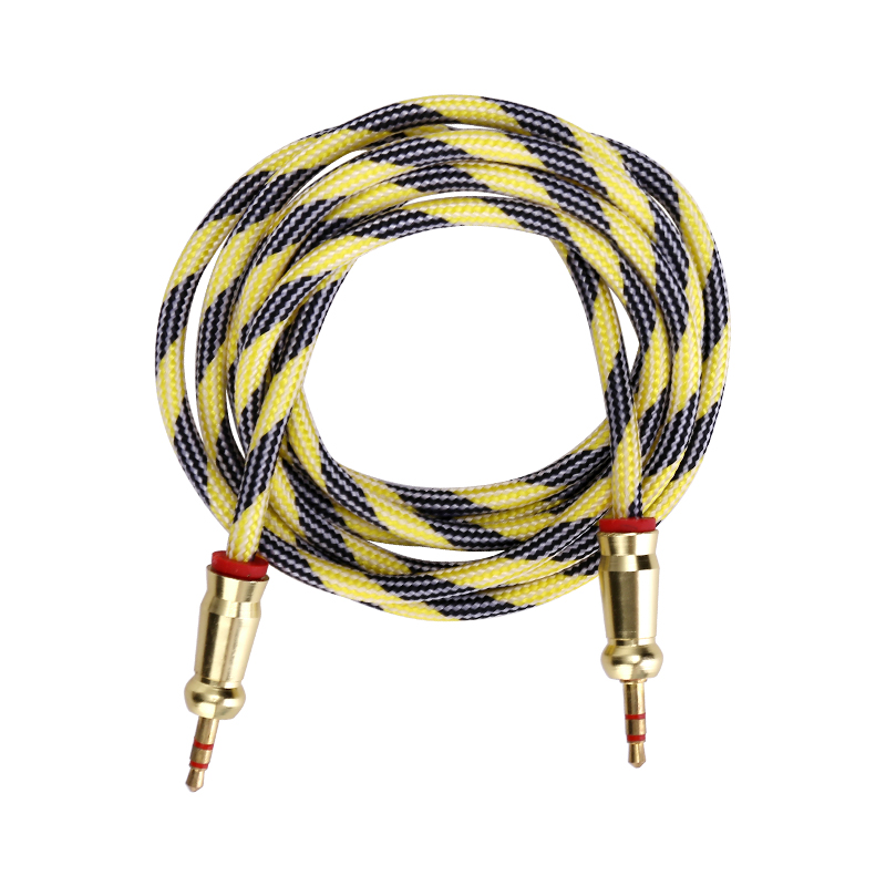 Aux Cable Car Headphones 3.5mm to 3.5mm Jack Audio Braided Cable Speaker Cable 2m - Yellow