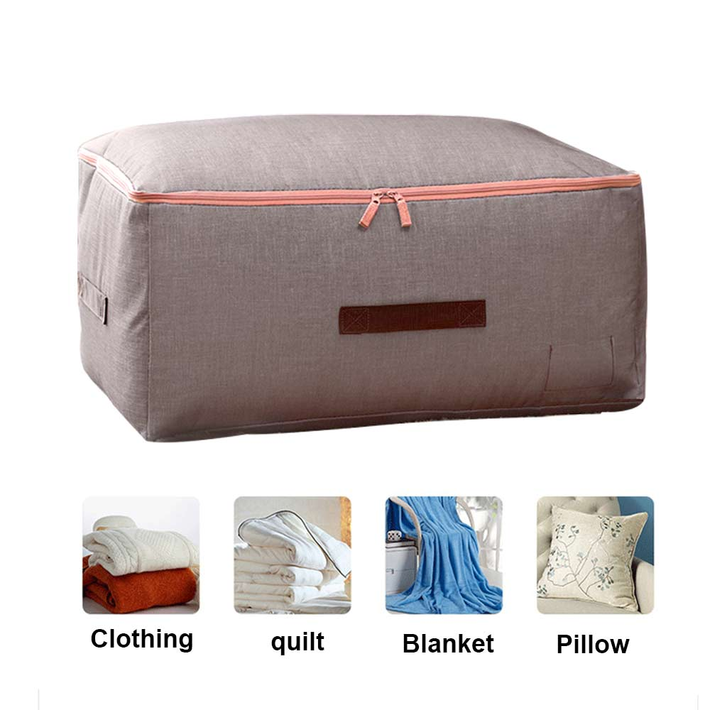 LARGE CLOTHES STORAGE BAG BOX QUILT BEDDING DUVET LAUNDRY PILLOWS ZIPPED HANDLES