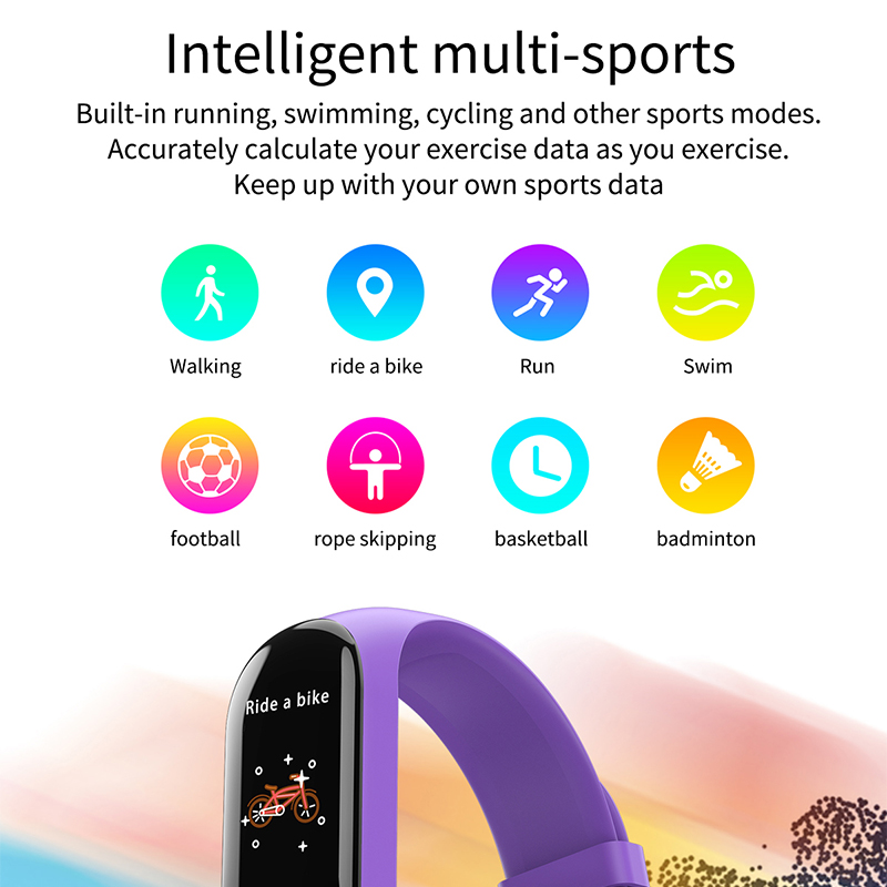 Y10 Sport Waterproof Smart Bracelet Blood Pressure Heart Rate Measurement Fitness Tracker Pedometer - Purple