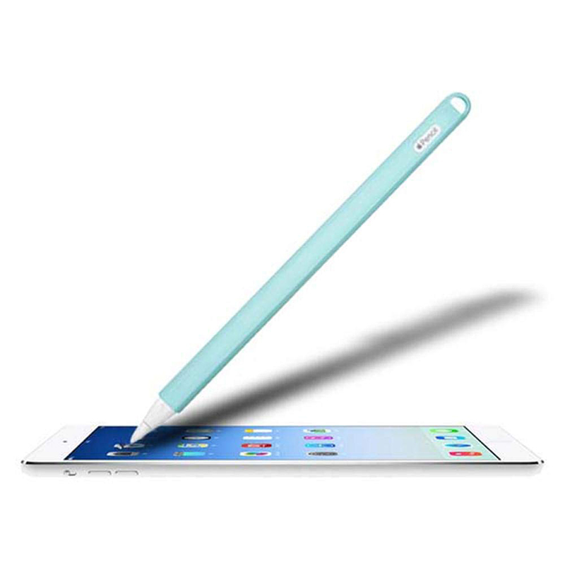 Silicone Case Stylus Protector Holding Sleeve Anti-Slip Drop Pouch with Nib Cover for Apple Pencil 2 - Cyan