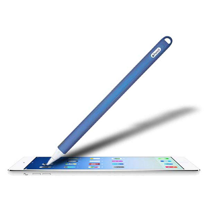 Silicone Case Stylus Protector Holding Sleeve Anti-Slip Drop Pouch with Nib Cover for Apple Pencil 2 - Blue