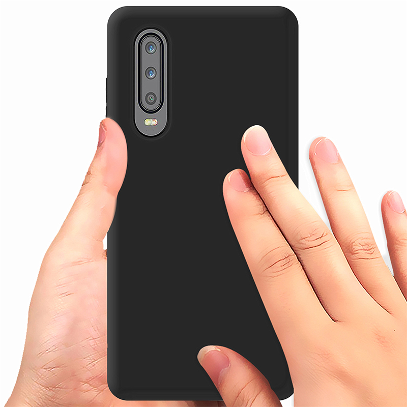 Soft TPU Matte Hand Feel Back Case Cellphone Cover for Huawei P30 - Black