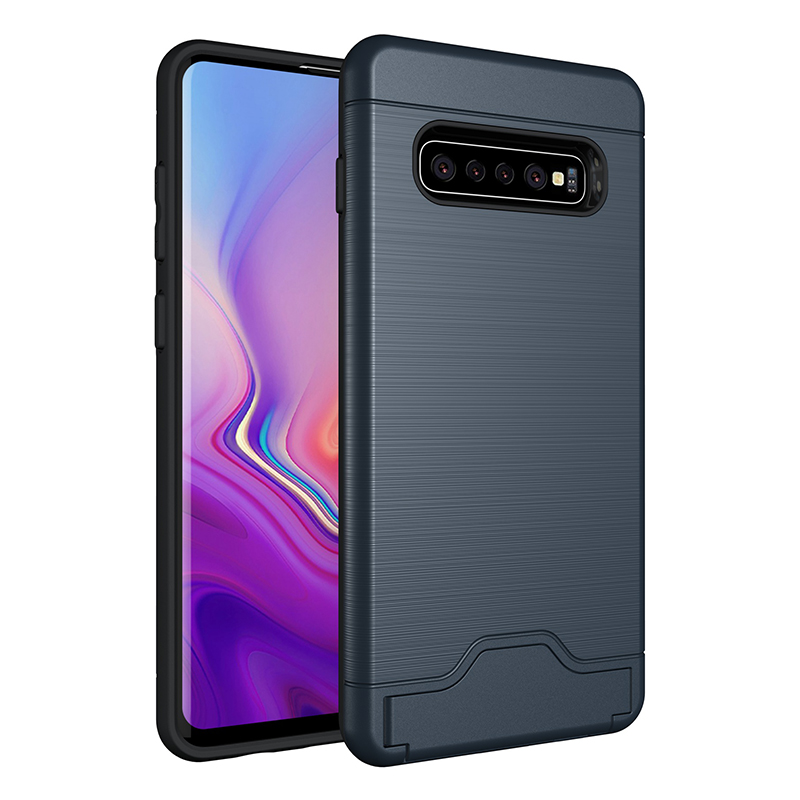 Faux Brushed Metal Texture Card Slot Kickstand PC Silicone Back Case for Samsung Galaxy S10 Plus - Navy