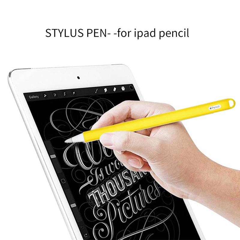 Silicone Case Stylus Protector Holding Sleeve Anti-Slip Drop Pouch with Nib Cover for Apple Pencil 2 - Yellow