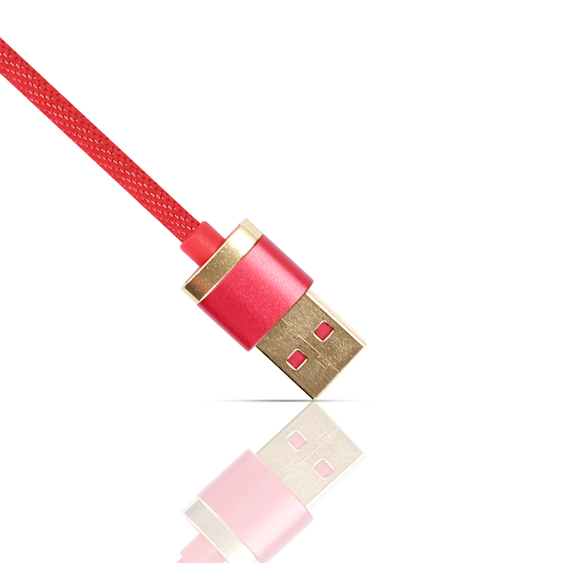 1m USB Date Cable Nylon Braided Charging 8pin Cable for iPad iPhone - Red