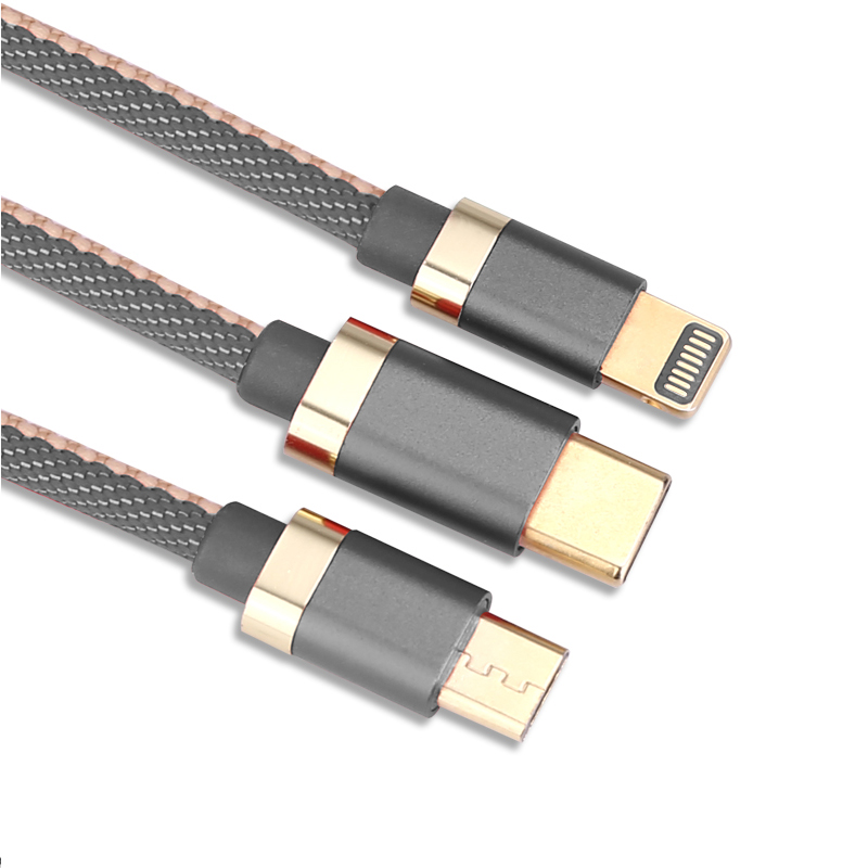 3 in 1 Portable Type C Micro 8 Pin Lightning USB Braided Charging Cable 1.2m - Grey