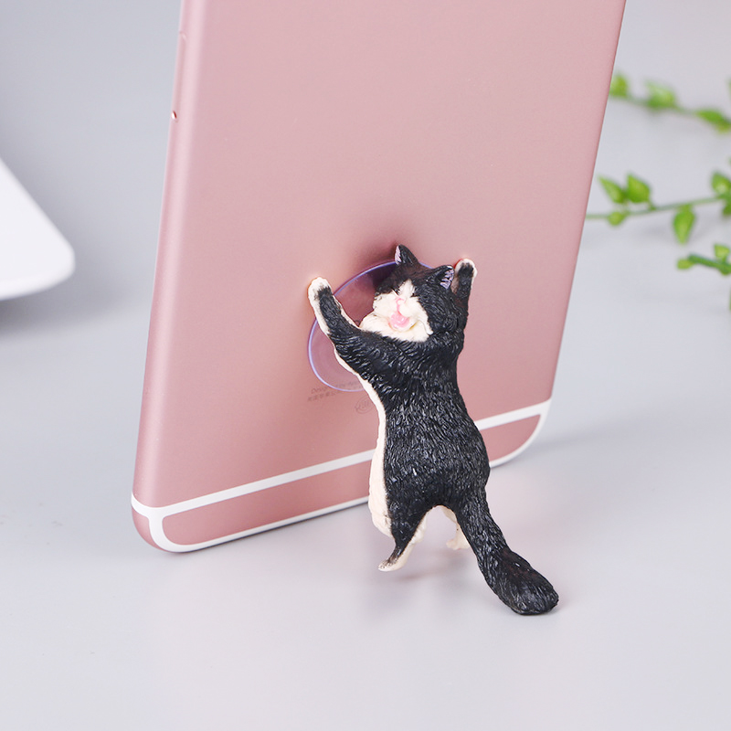 Cute Cat Resin Cellphone Holder Tablets Desk Car Stand Mount Sucker Bracket Universal - Black