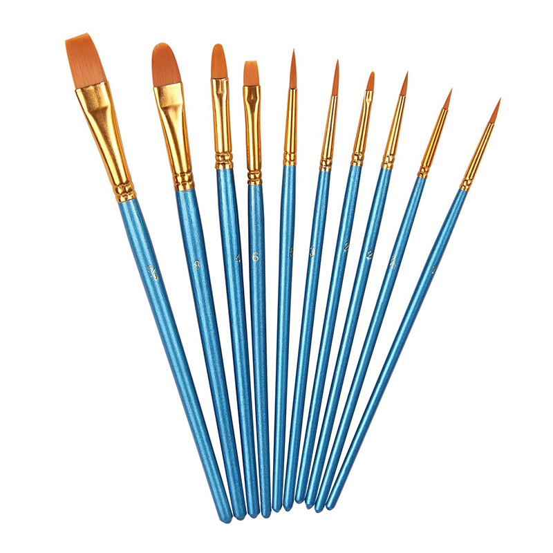 10 Pieces Round Pointed Flat Tip Nylon Hair Watercolor Oil Brush Set - Blue