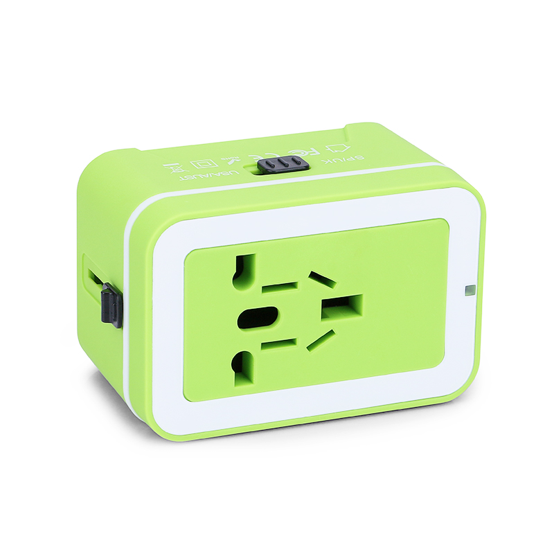 Universal Power Converter Dual USB Travel Wall Charger Adapter Plug Fit for USA Europe UK AUS - Green