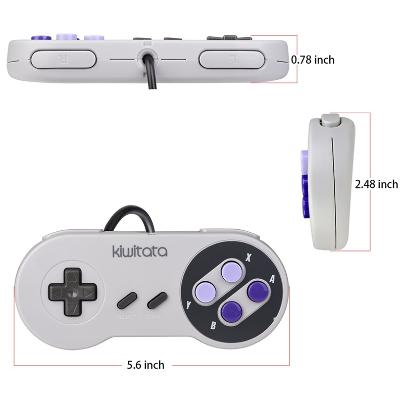 Replacement Controller for Super Nintendo Entertainment System SNES Wii Gamepad
