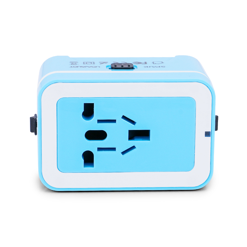 Universal Power Converter Dual USB Travel Wall Charger Adapter Plug Fit for USA Europe UK AUS - Blue