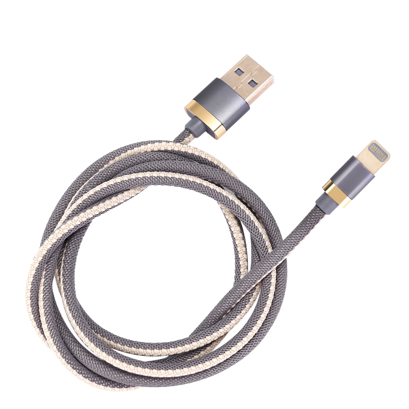 1m USB Date Cable Nylon Braided Charging 8pin Cable for iPad iPhone - Grey