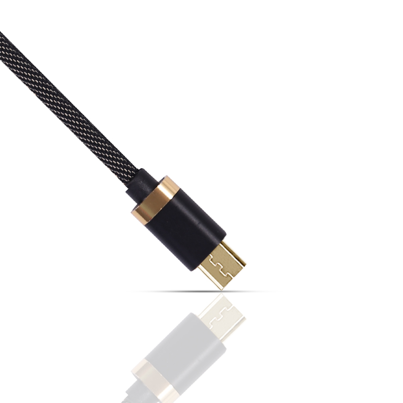 1m Micro USB Nylon Cable Sync Data Mobile Phone Android Charger Cable for Samsung Huawei - Black