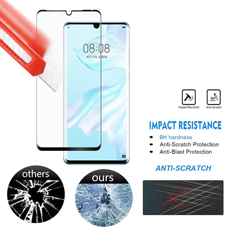 Tempered Glass Screen Protector Screen Guard Film for Huawei P30 Pro Black Edge