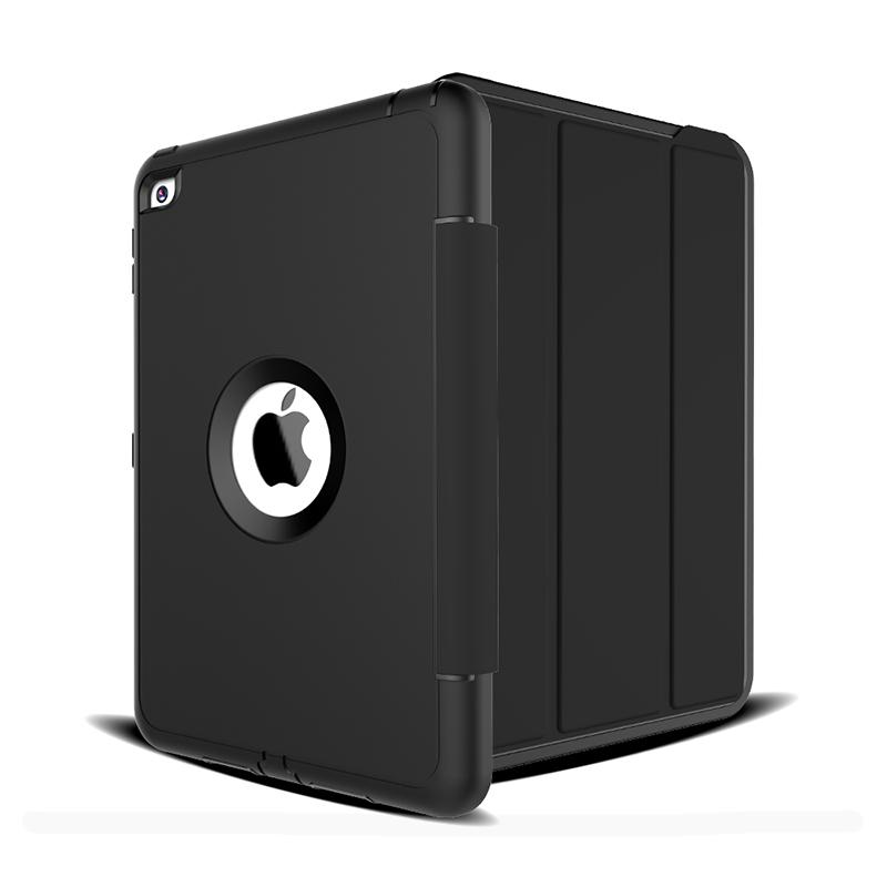 3 Layers Heavy Duty PU Protective Case Smart Cover Auto Sleep Wake Folio Stand for iPad Mini 4 - Black