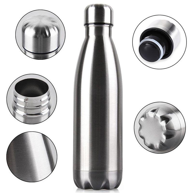 750ML Stainless Steel Vacuum Insulated Water Bottle Leak-proof Double Walled Drinks Bottle - Silver