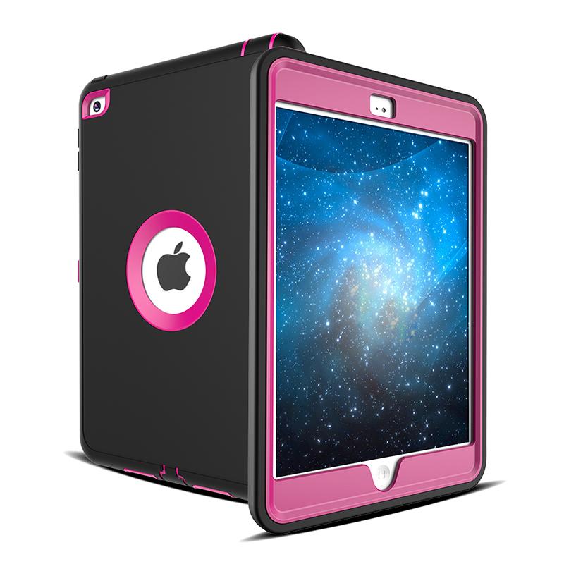 3 Layers Heavy Duty PU Protective Case Smart Cover Auto Sleep Wake Folio Stand for iPad Mini 4 - Hot Pink