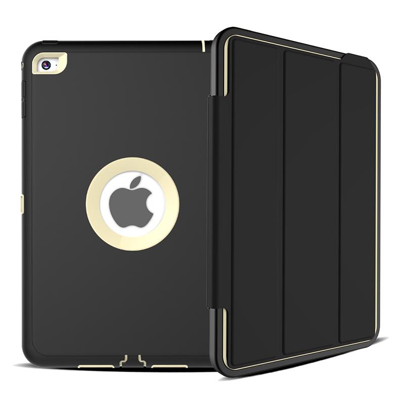 3 Layers Heavy Duty PU Protective Case Smart Cover Auto Sleep Wake Folio Stand for iPad Mini 4 - Grey