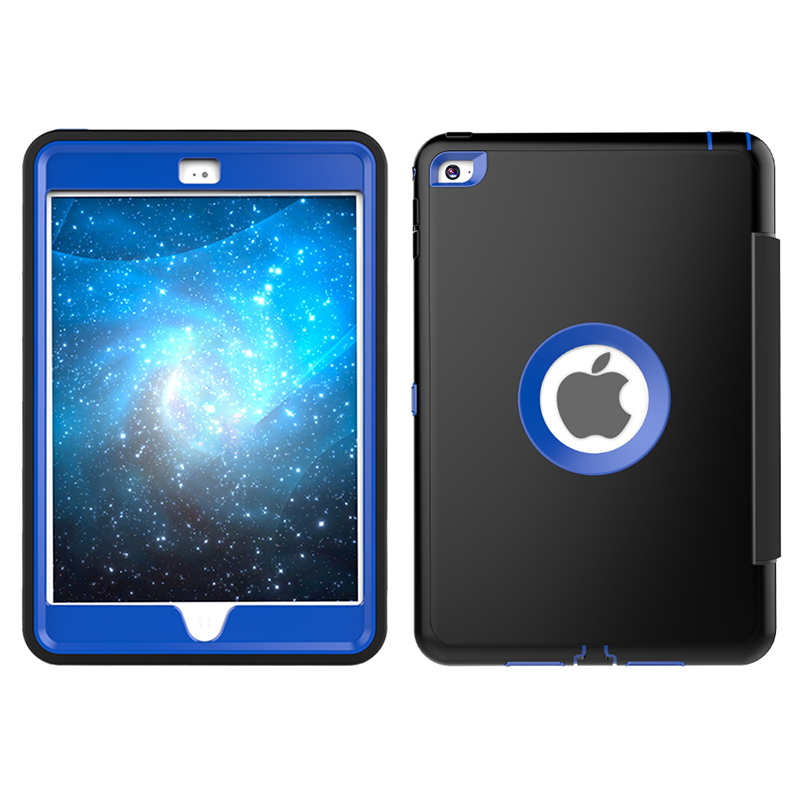 3 Layers Heavy Duty PU Protective Case Smart Cover Auto Sleep Wake Folio Stand for iPad Mini 4 - Blue