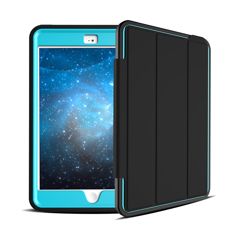 3 Layers Heavy Duty PU Protective Case Smart Cover Auto Sleep Wake Folio Stand for iPad Mini 4 - Light Blue