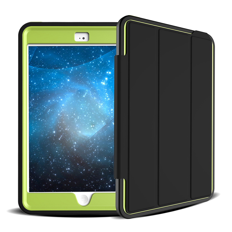 3 Layers Heavy Duty PU Protective Case Smart Cover Auto Sleep Wake Folio Stand for iPad Mini 4 - Green