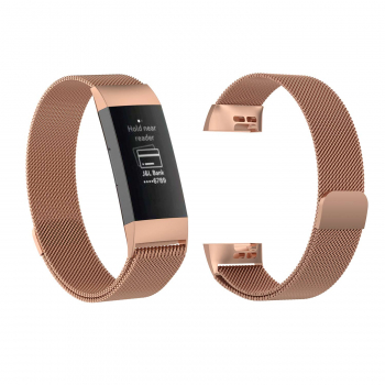 Replacement Milanese Milanis Metal Strap Magnetic Attraction Secure Band Metal Buckle for Fitbit Charge 3 - Rose Gold