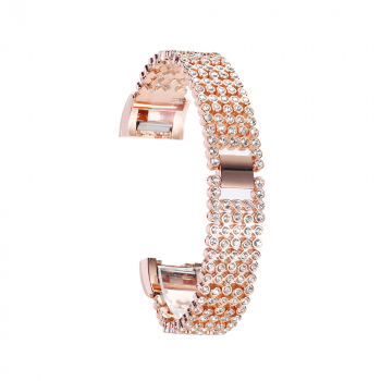 Smart Watch Band Crystal Rhinestone Stainless Steel Watch Band Wrist Strap for Fitbit Charge 2 - Gold