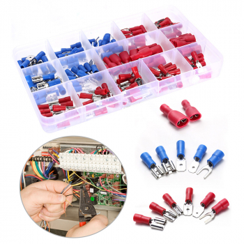 140 pcs Assorted Insulated Electrical Wire Terminals Crimp Connectors Spade Kit