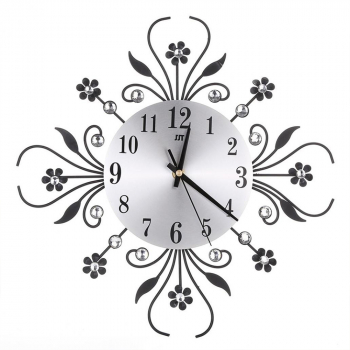 Metal Diamonds Flower Silent 3D Wall Clock For Office House for Living Room - Black