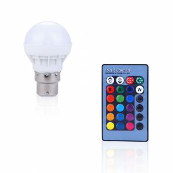 B22 RGB 3W 16 Colors Changing LED Light Bulb Lamp + IR Remote Control