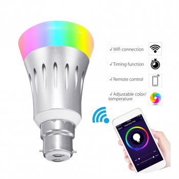 B22 Smart Bulb Wireless WiFi APP RGB Dimmable LED Lamp Alexa Google Home CE Certification