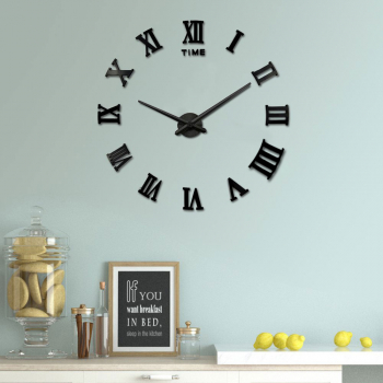 DIY 3D Wall Clock Roman Numerals Large Mirror Surface Luxury Big Art Clock - Black