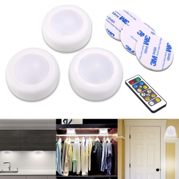 3 x LED Dual Colors White and Warm Light Round Dimmable Timing Remote Control Cabinet Night Light